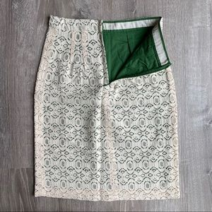 NWT Anthro Ivory Lace Over Green Pencil Skirt 0